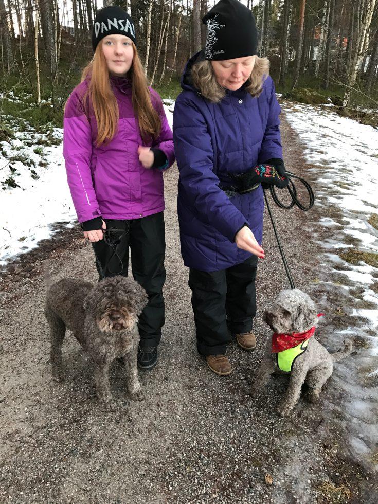 Lucca och lånehunden Tessie på promenad.